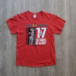 Reebok MN's Red Blackhawks 2013 Stanley Cup T SZ M
